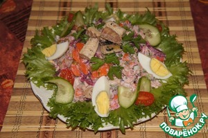 Flat plate to make the salad, put the salad, decorate with slices of egg, cucumber and green onions.