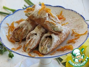 Decorate the cooked orange peel.  sprinkle with powdered sugar and cinnamon.