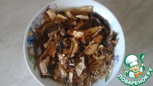 Soak the mushrooms for 2 hours in cold water. After that, drain the water, wash the mushrooms and boil for 40 minutes.