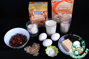"""Ingredients required for preparing cake """"Grechina"""". Hazelnut wash, dry and chop."""