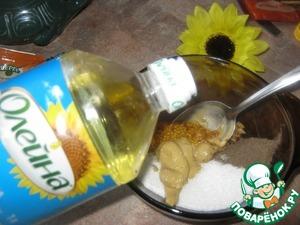 """Смешиваем сыпучие ингредиенты, горчицы, добавляем подсолнечное масло ТМ """"Олейна"""", хорошо перемешиваем"""