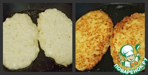 On a hot non-stick pan fry our pancakes. First, on low heat under a lid for 5 min. on each side, and then on medium heat on both sides until crisp.