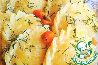 Рецепт: Вареники с картофелем и маринованными опятами