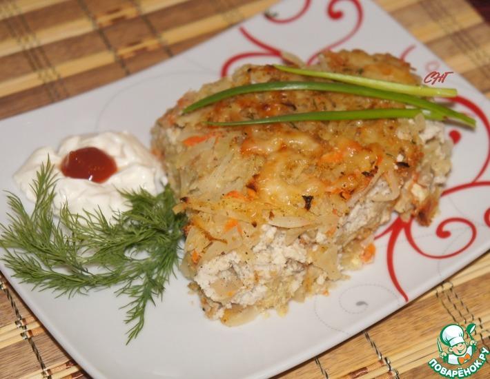 Рецепт: Запеканка из капусты с куриным фаршем
