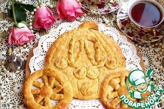 Рецепт: Фигурный пирог с курагой и корицей Карета