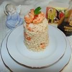 Бурый рис с имбирными креветками