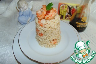 Рецепт: Бурый рис с имбирными креветками