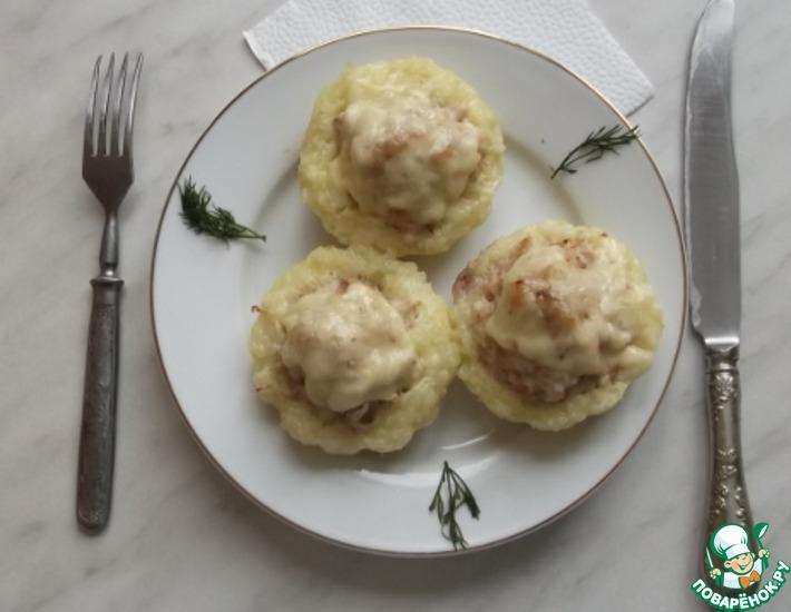Рецепт: Рисовые корзиночки с курицей и сыром