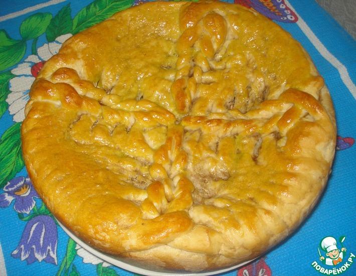 Рецепт: Пирог с квашеной капустой и грибами