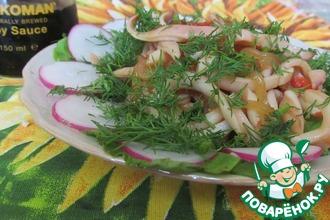 Рецепт: Кольца кальмара с соевым соусом