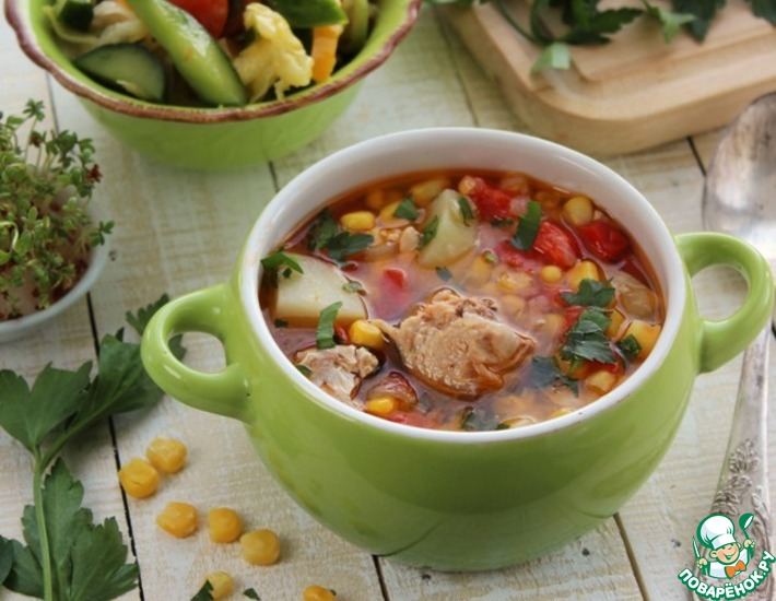 Рецепт: Суп из тунца с овощами