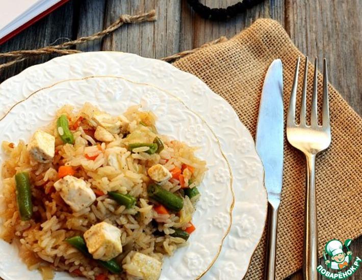 Рецепт: Жареный рис с овощами и соевым сыром