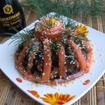 Закуска из морской капусты с форелью