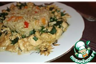 Рецепт: Курица с гарниром из коричневого риса