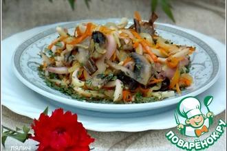 Рецепт: Теплый салат с кальмарами и грибами