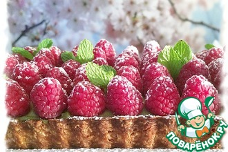 Рецепт: Матча-малиновый тарт