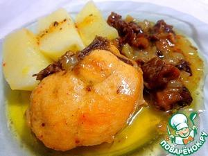 Рецепт Курица, тушенная в яблочном соусе с грибами