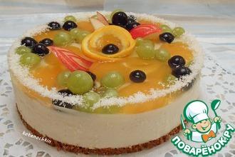 Рецепт: Творожно-желейный торт с фруктами
