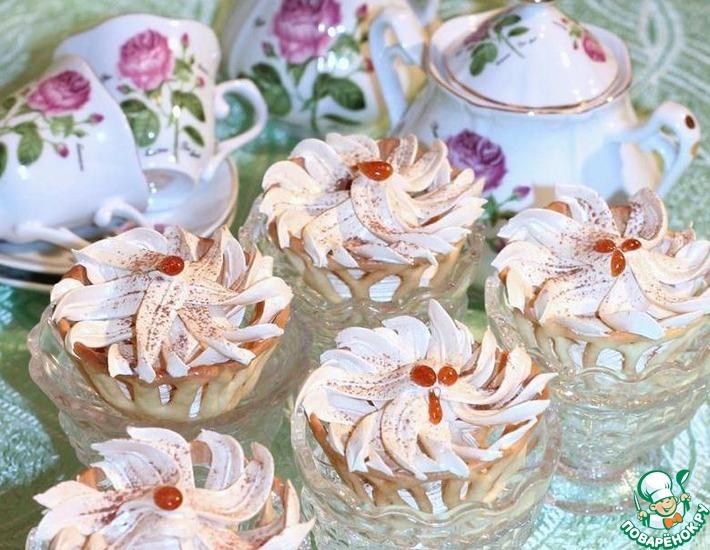 Ванильные корзиночки с карамельным кремом