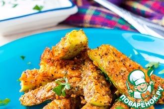 Рецепт: Запеченные кабачки в сырной панировке