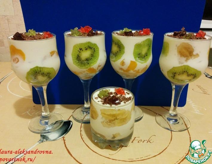 Рецепт: Творожный десерт с фруктами