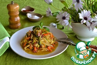 """Рецепт: Овощные """"спагетти"""" с медово-горчичным соусом"""