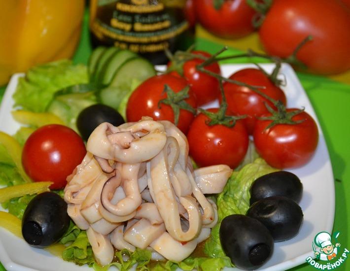 Рецепт: Необычные маринованные кольца кальмара