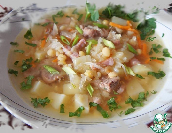Рецепт: Гороховые щи с копченой свининой Полтавские