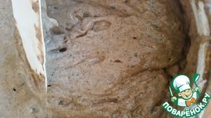 Опара (заквашенная заварка):      Заварка комнатной температуры - вся   Закваска - вся   Вода -100 г ( 35°С)   Рж обдирная мука- 100 г   Смешать все компоненты ложкой или миксером   и оставить в тепле на 2 часа для ферментации.    На фото - результат ферментации, пенящаяся ароматная масса