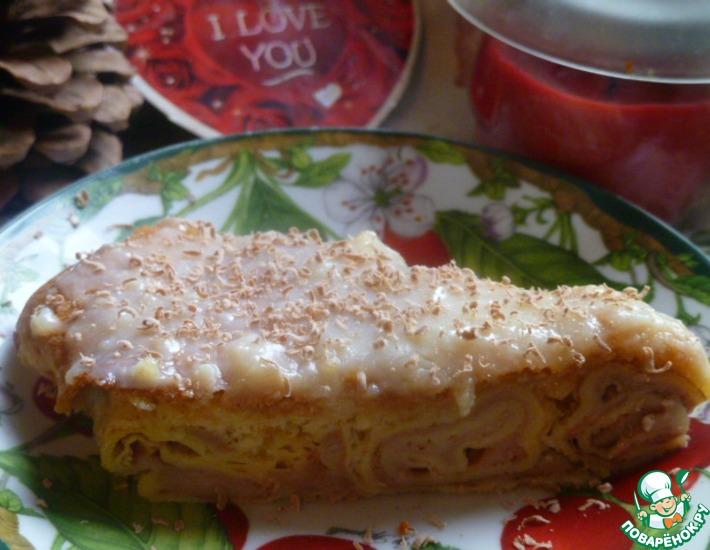 Рецепт: Блинно-бисквитный пирог Сластена