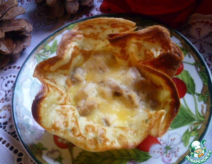 Рецепт: Картофельные блинные корзиночки с начинкой