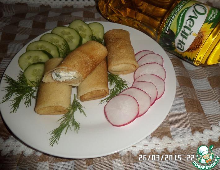 Рецепт: Блинчики на сыворотке с творогом и зеленью