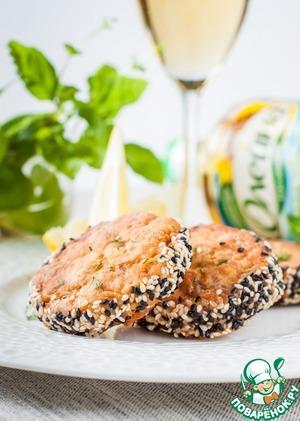 Рецепт: Рубленые рыбные котлеты в кунжутной панировке
