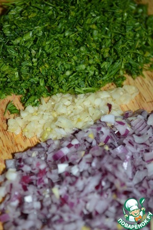 Onion, garlic and dill grind.