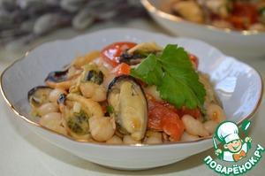 Рецепт Теплый салат из фасоли с мидиями