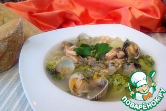 Рецепт: Суп из брокколи с ракушками