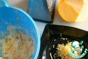 Grind the flour with the butter ( or margarine) on a grater, add grated on a fine grater cheese.