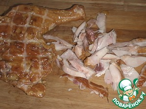 With chicken remove the skin and cut arbitrarily.