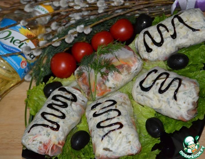 Рецепт: Рисовые лепешки с курочкой и овощами