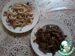 Calmacil boil, cut into strips.  Fry the mushrooms.