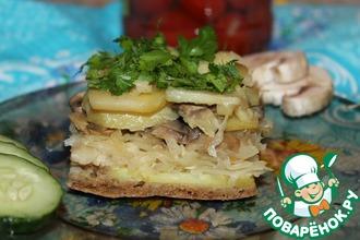 Рецепт: Постная овощная запеканка с квашеной капустой
