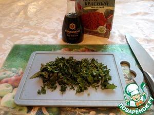 Мелко рубим пучок петрушки, можно использовать другую зелень на ваш вкус. Я люблю петрушку поэтому ее и использую.