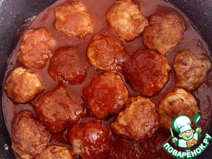 Fried meatballs put into a clean pot or pan, cover with the sauce, cover and simmer 10-15 minutes on low heat.  Serve meatballs hot, watering sauce.