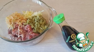 "In forcemeat add the grated on a fine grater raw potato, grated onion, grated cucumber and soy sauce ""Kikkoman"" (brought to taste)"