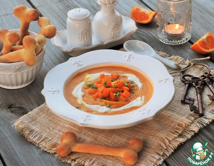Рецепт: Тыквенно-мандариновый суп с хлебными косточками
