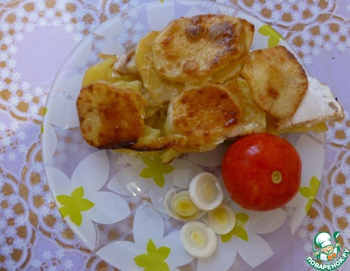 Рецепт: Картошка в духовке с куриным филе