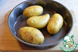 Bake in the oven for about an hour at 160 degrees. Cooking time may vary, it depends on the quality and size of potatoes.