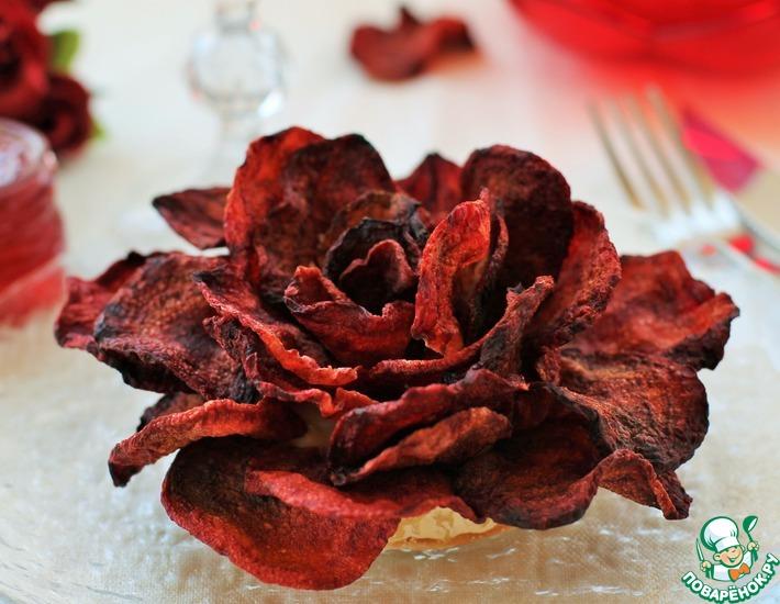 Рецепт: Роза из свекольных чипсов