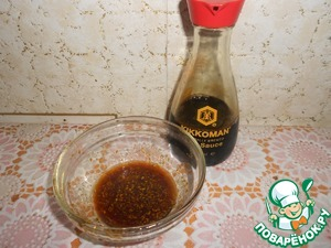 For the marinade mix soy sauce, liquid honey, orange zest, orange juice.