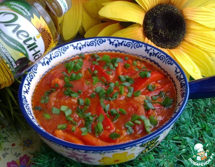 Рецепт: Закуска из помидоров с печеным перцем